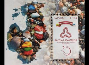 Lettland Latvia 2016 Block 38 25 Jahre Baltische Versammlung Paralellausgabe