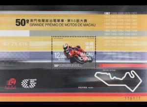 China Macau Macao 2016 Nr. Block 255 50. Macao Motorrad Grand Prix Motorsport