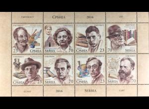 Serbien Serbia 2016 Nr. 703-10 Kunst Markenheft Schriftsteller Literatur Maler