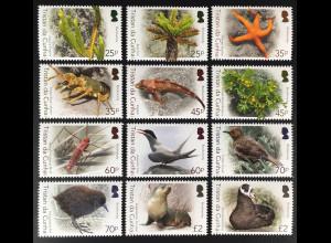 Tristan da Cunha 2016 Nr. 1249-60 Biodiversität Tier- und Blumenmotive Ökologie