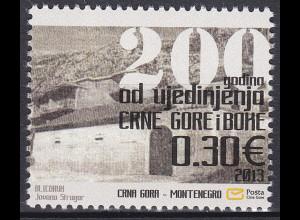 Montenegro 2013, Michel Nr. 325, 200. J. der Vereinigung von Montenegro & Kotor