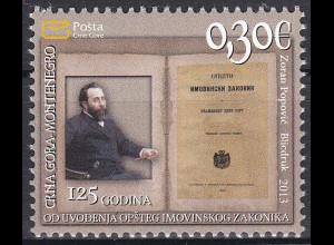 Montenegro 2013, Michel Nr. 329 **, Allg. Vermögensgesetzbuch im Fürstentum