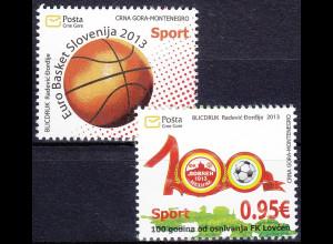Montenegro 2013, Michel Nr. 333-34, Sport: Basketball-EM ; 100 J. Fußballverein