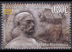 Montenegro 2013, Michel Nr. 336 **, 350. Geburtstag von Marko Martinović