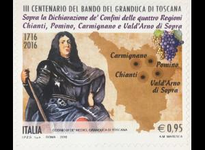 Italien Italy 2016 Michel Nr. 3936 Jahrestag Festlegung Grenzen Weinbaugebiete