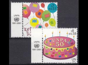 Vereinte Nationen UN UNO Wien 2001 Nr. 342-43 50 Jahre Postverwaltung UNPA