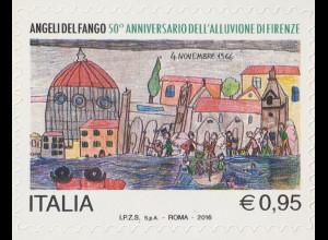 Italien Italy 2016 Michel Nr. 3950 50. Jahrestag der Flutkatastrophe in Florenz