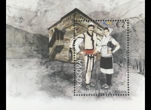 Kosovo 2016 Block 40 Traditionelle Kostüme aus Reka Kleidung Tracht Volkstum