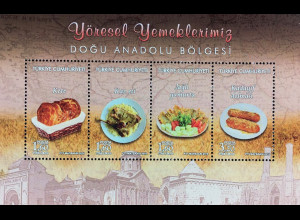 Türkei Turkey 2016 Block 152 Regionale Küche Gerichte aus Ostanatolien