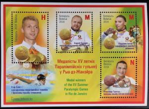Weißrussland Belarus 2016 Block 145 Medaillengewinner Paralympische Sommerspiele