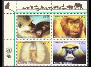 Vereinte Nationen UN UNO Wien 2007 Nr. 485-88 Gefährdete Arten Primaten