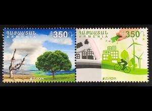Armenien 2016 Michel Nr. 989-90 Europa Umweltbewusst leben Ökologie Naturschutz