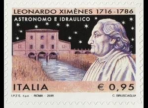 Italien Italy 2016 Michel Nr. 3963 Geburtstag von Leonardo Ximenes Wissenschaft