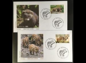 Bund BRD Ersttagsbrief FDC Nr. 3288-89 1. März 2017 Tierkinder Wildschwein Iltis