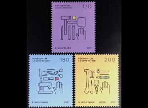 Liechtenstein 2017 Nr. 1844-46 SEPAC Handwerk Piktogramme Werkzeuge Schneider
