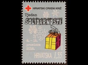 Kroatien Croatia 2016 Nr. 146 Zwangszuschlag Rotes Kreuz Woche der Solidarität