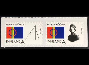 Norwegen 2017 Nr. 1929-30 Träante Norwegische Farben und Königin