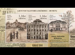 Litauen Lithuania 2017 Block 55 Jahrestag Wiederherstellung der Unabhängigkeit