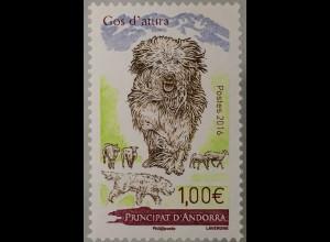 Andorra französisch 2016 Michel Nr. 811 Hütehunde Gol d´atura Haustiere Fauna