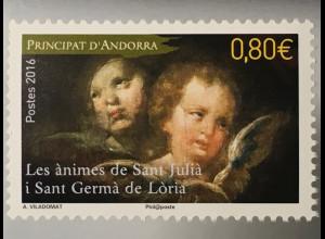 Andorra französisch 2016 Nr. 812 Les Animes St. Julia Engel Gemälde Barockengel