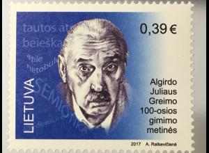 Litauen Lithuania 2017 Nr. 1247 100 Jahre Algirdo J. Greimas berühmte Person