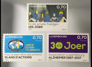 Luxemburg 2017 Michel Nr. 2122-24 Jahrestage Alzheimer Verband Privatschule