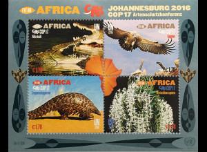 Verei. Nationen UNO Wien 2016 Block 41 Artenschutzkonferenz CITES CoP17 Afrika