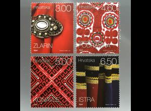 Kroatien Croatia 2017 Nr. 1268-71 Freimarken Ethnographisches Erbe Stoffmuster