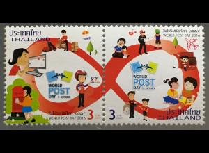 Thailand 2016 Neuheit Weltposttag Postbeförderung Briefe schreiben Postverkehr