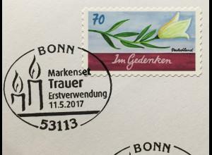 Bund BRD Ersttagsbrief FDC Nr. 3313 11. Mai 2017 Grußmarke Schreibanlässe Trauer