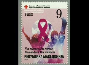 Makedonien Macedonia 2017 Neuheit Rotes Kreuz Zwangszuschlagsmarke Gegen Krebs