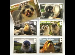 Tristan da Cunha 2017 Nr. 1267-72 Pelzrobbe Tiere Fauna Seebär Säugetier