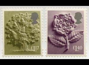 Großbritannien 2017 Regionalmarke England Michel Nr. 41-42 Landeswahrzeichen