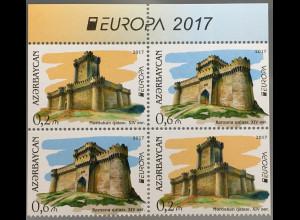 Aserbaidschan 2017 Nr. 1193-94 AB Europaausgabe Burgen und Schlösser aus MH