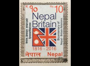 Nepal 2016 Neuheit 200 Jahre Beziehungen mit Großbritannien