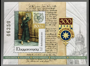 Ungarn Hungary 2017 Block 398 500 Jahre Reformation Martin Luther