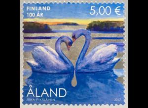 Aland 2017 Michel Nr. 439 100 Jahre Finnland Schwanenpaar Herzmotiv