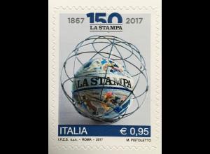 Italien Italy 2017 Michel Nr. 3968 150 Jahre Tageszeitung La Stampa Presse