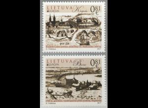 Litauen Lithuania 2017 Nr. 1250-51 Europaausgabe Burgen und Schlösser