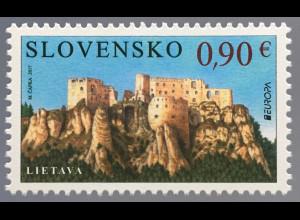 Slowakei Slovakia 2017 Michel Nr. 816 Europaausgabe Burgen und Schlösser