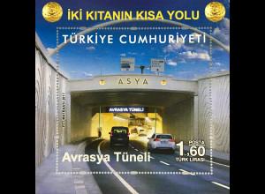 Türkei Turkey 2017 Block 160 Eröffnung des Eurasien-Tunnels Tourismus Verkehr