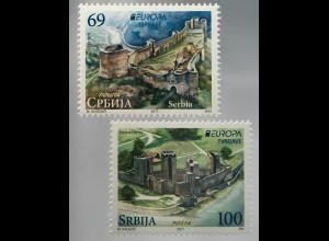 Serbien Serbia 2017 Nr. 742-43 Europaausgabe Burgen und Schlösser