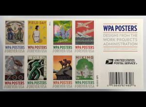 USA Amerika 2017 Booklet Michel Nr. 5373-82 Arbeitsbeschaffungsbehörde WPA