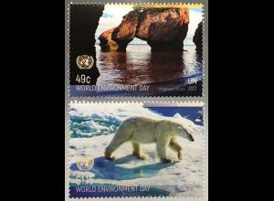 Vereinte Nationen UN UNO New York 2017 Nr. 1618-19 Hopewell Rocks Eisbär Baffin