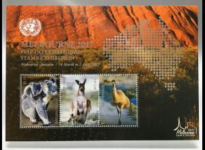 Vereinte Nationen UN UNO New York 2017 Block 51 Koala Känguruh Strauß