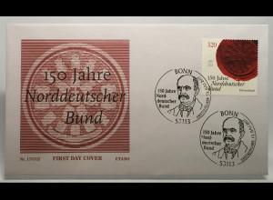 Bund BRD Ersttagsbrief FDC Nr. 3321 13. Juli 2017 Gründung Norddeutscher Bund