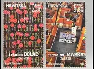 Kroatien Croatia 2017 Nr. 1287-88 Tourismus in Zagreb Marktplatz Zentrum