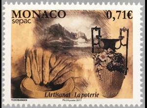 Monako Monaco 2017 Michel Nr 3350 SEPAC Handwerk Historische Keramik Kunst