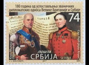 Serbien Serbia 2017 Nr. 750 180 J. Diplomatische Beziehungen mit Großbritannien