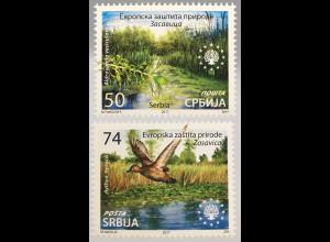 Serbien Serbia 2017 Nr. 748-49 Europäischer Naturschutz Biotope Fauna und Flora